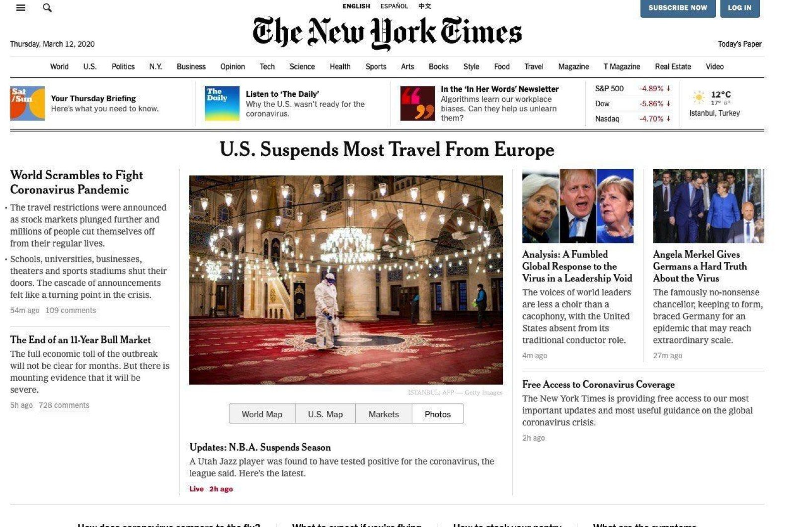 The New York Times uses photos of Turkey with coverage of U.S. travel restrictions on Europe, despite Turkey being exempted from the measures, March 11, 2020.