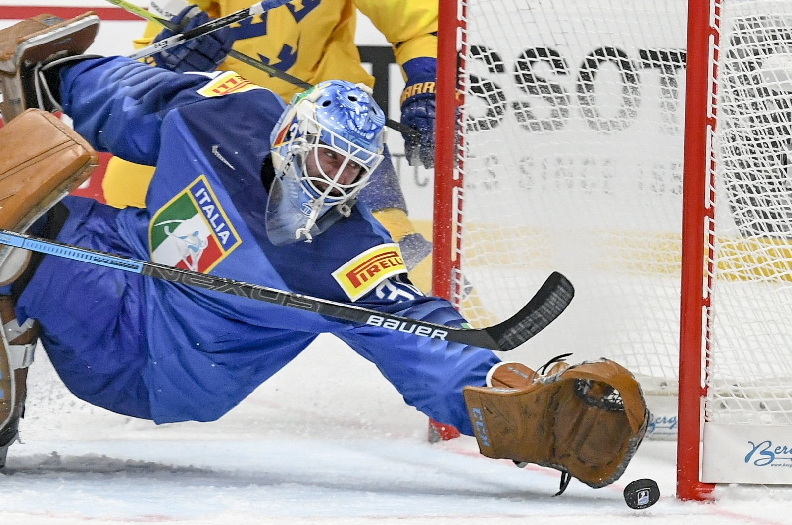 Goalkeeper Marco De Filippo Roia of Italy in action during the IIHF World Championship group B ice hockey match between Italy and Sweden at the Ondrej Nepela Arena in Bratislava, Slovakia, May 12, 2019. (EPA Photo)