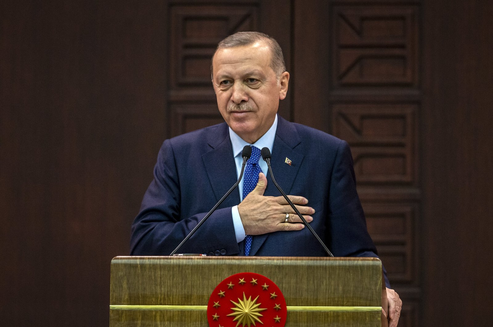 President Recep Tayyip Erdoğan speaks to reporters after a meeting on measures against spread of coronavirus, on Thursday, 19 March 2020, in Ankara, Turkey. (AA Photo)