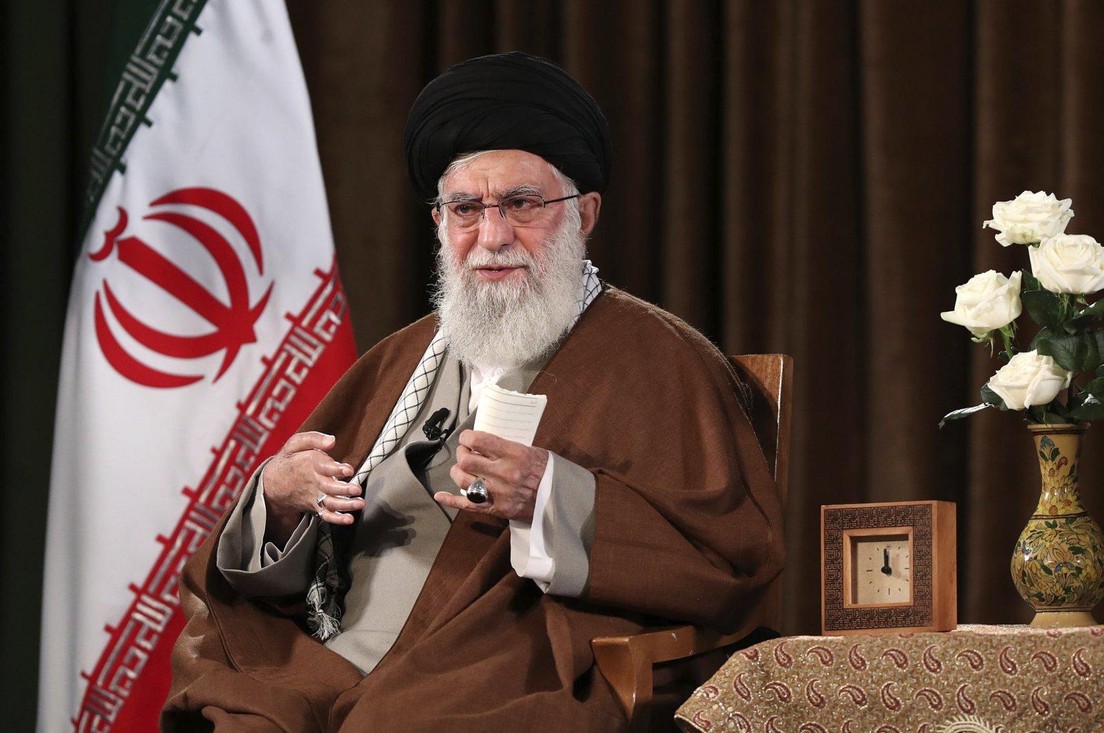 Supreme Leader Ayatollah Ali Khamenei addresses the nation on a televised speech, in Tehran, Iran, Sunday, March 22, 2020. (AP Photo)