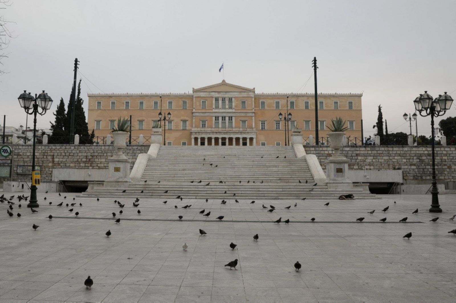 Pigeons flock on the empty Syntagma Square with the Greek parliament building in the background, following an outbreak of COVID-19, in Athens, Greece, March 22, 2020. (Reuters Photo)