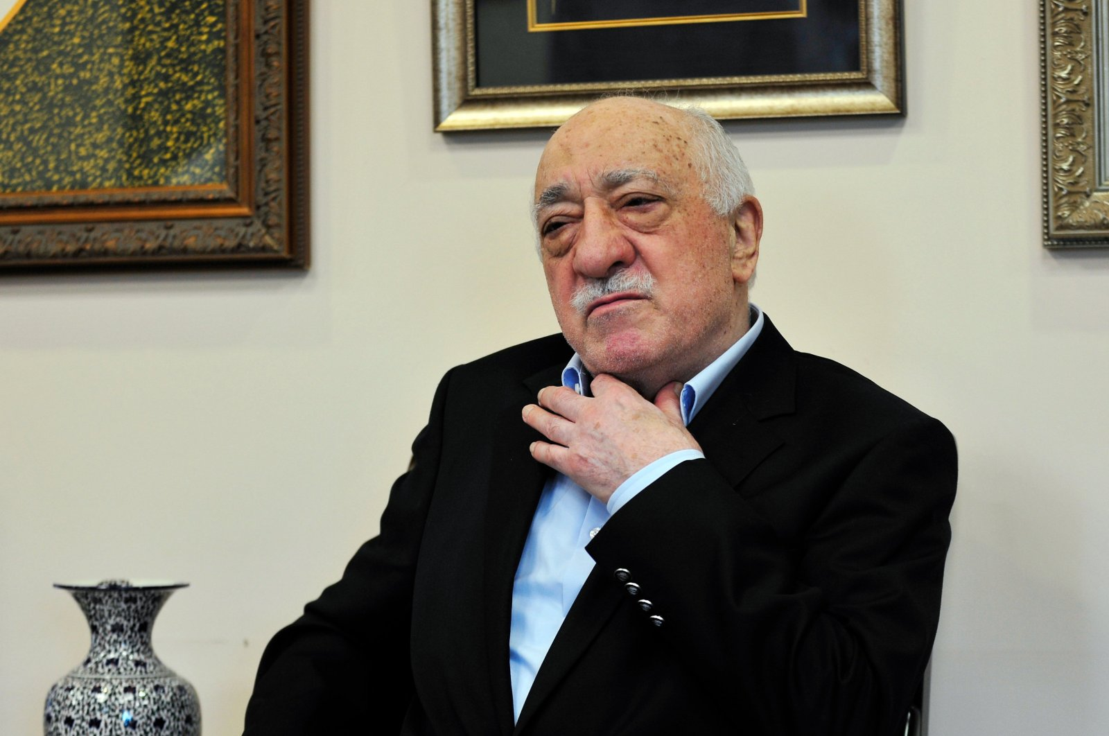 FETÖ's U.S-based leader Fetullah Gülen speaks to members of the media at his compound, July 17, 2016, in Saylorsburg, Pa. FETÖ is accused of staging the July 15 coup attempt that tried to overthrow Turkey's democratically elected government and killed 251 people and injured nearly 2,200 others. (AP Photo)