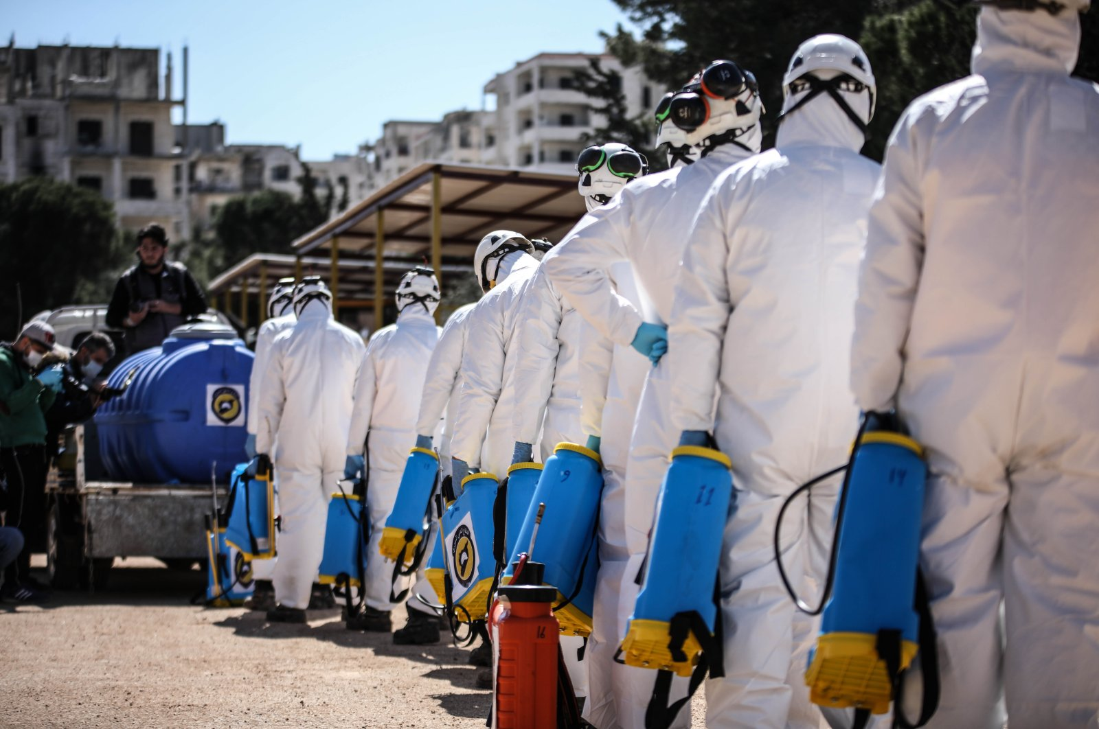 The White Helmets civil defense group is striving to conduct disinfectant works in Syria's Idlib province, March 23, 2020. (AA Photo)