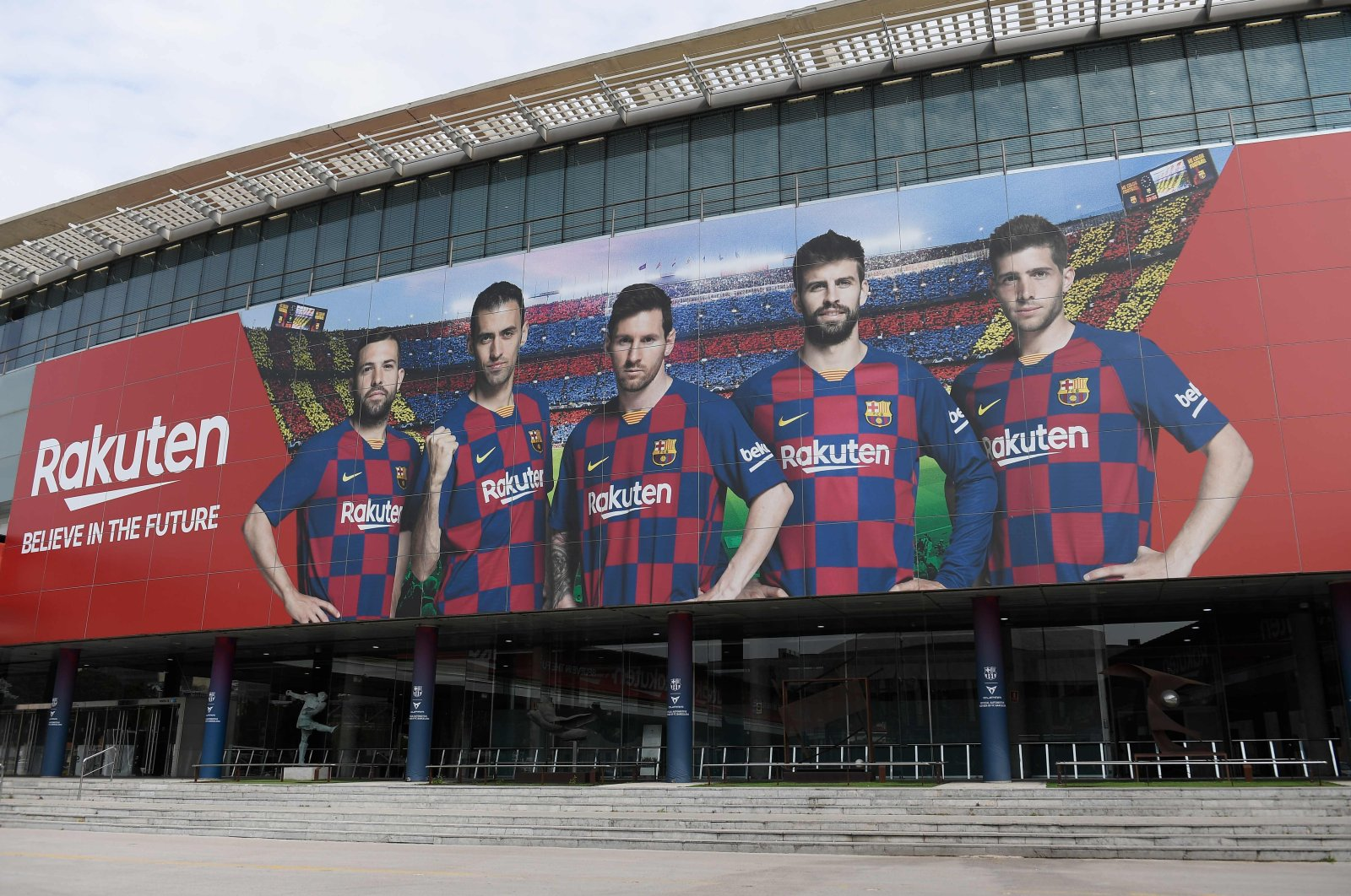 A picture shows the empty entrance to the Camp Nou stadium in Barcelona on March 13, after La Liga said Spain's top two divisions would be suspended for at least two weeks over the coronavirus outbreak. (AFP Photo)