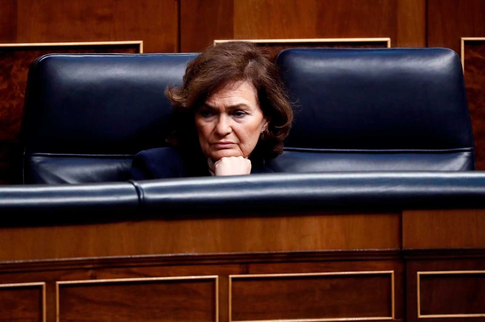 Spain's Deputy Prime Minister Carmen Calvo attends a session at the Spanish Parliament, Madrid, March 18, 2020. (AFP Photo)