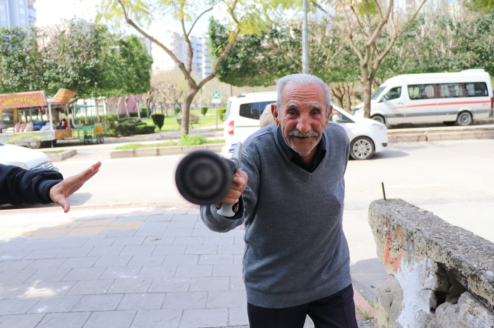 Elders out on the streets are being warned and ushered off to their homes as part of the measures but sometimes officials are met with resistance, as in the case with a 78-year-old man (pictured) from Adana, southern Turkey. (IHA Photo)