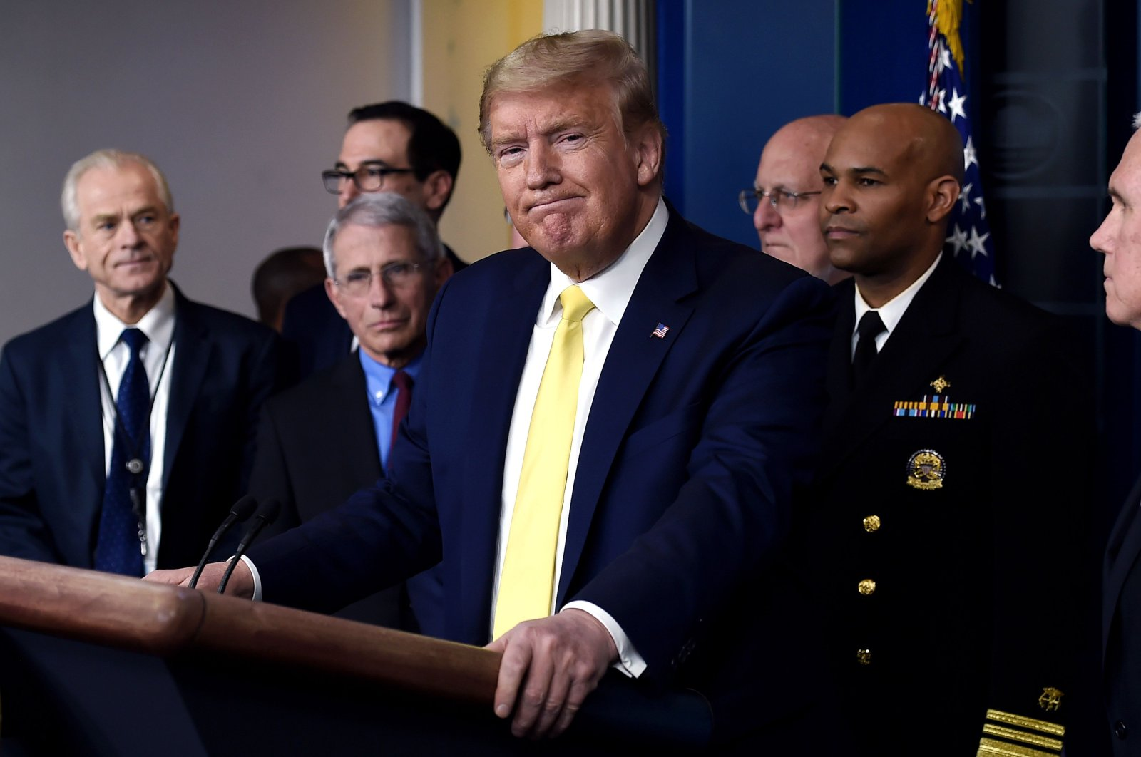 U.S. President Donald Trump speaks about the pandemic alongside members of the Coronavirus Task Force in the Brady Press Briefing Room at the White House, Washington, D.C., March 9, 2020. (AFP Photo)