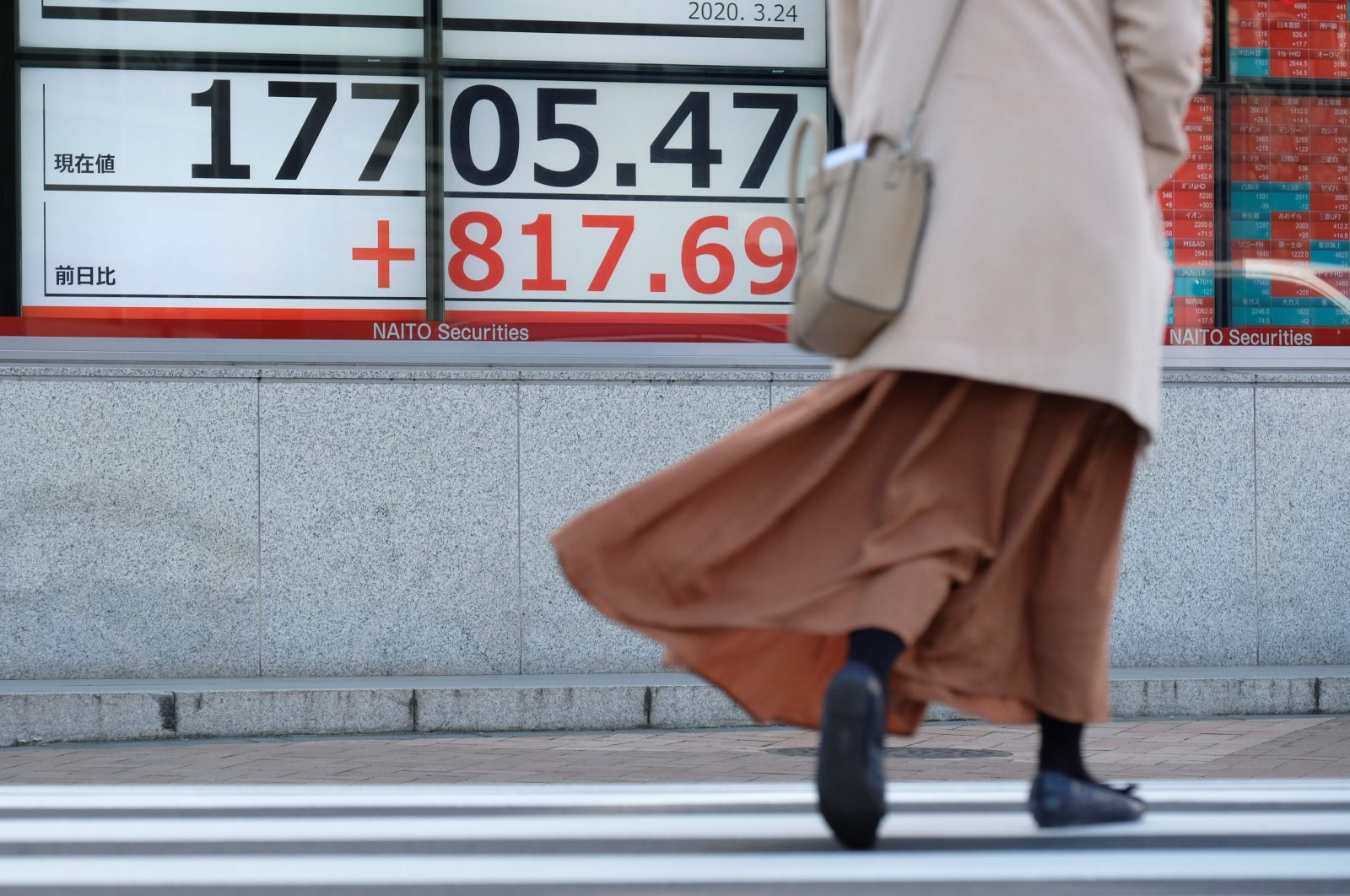A pedestrian walks past a quotation board displaying the share price numbers during morning trading on the Tokyo Stock Exchange in Tokyo, March 24, 2020. (AFP Photo)