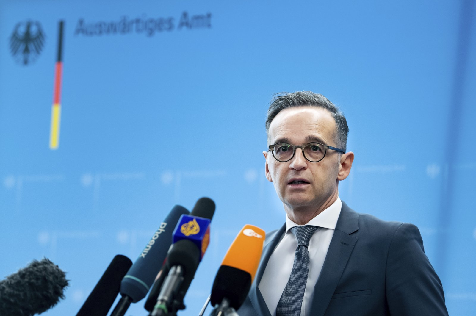 German Foreign Minister Heiko Maas briefs the media during a news conference on current developments in the worldwide spread of the coronavirus at the foreign ministry in Berlin, Germany, March 17, 2020. (AP Photo)