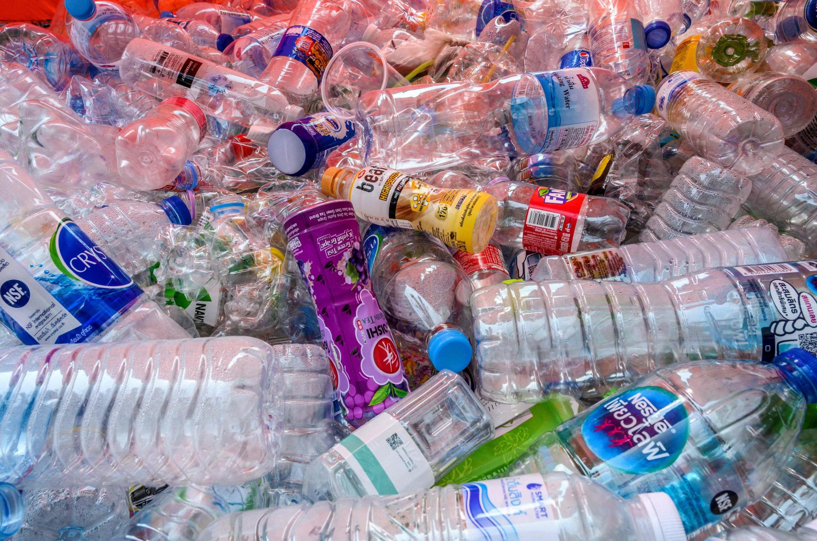 Used plastic bottles seen in a container in Bangkok, Thailand, March 4, 2020. (AFP Photo)