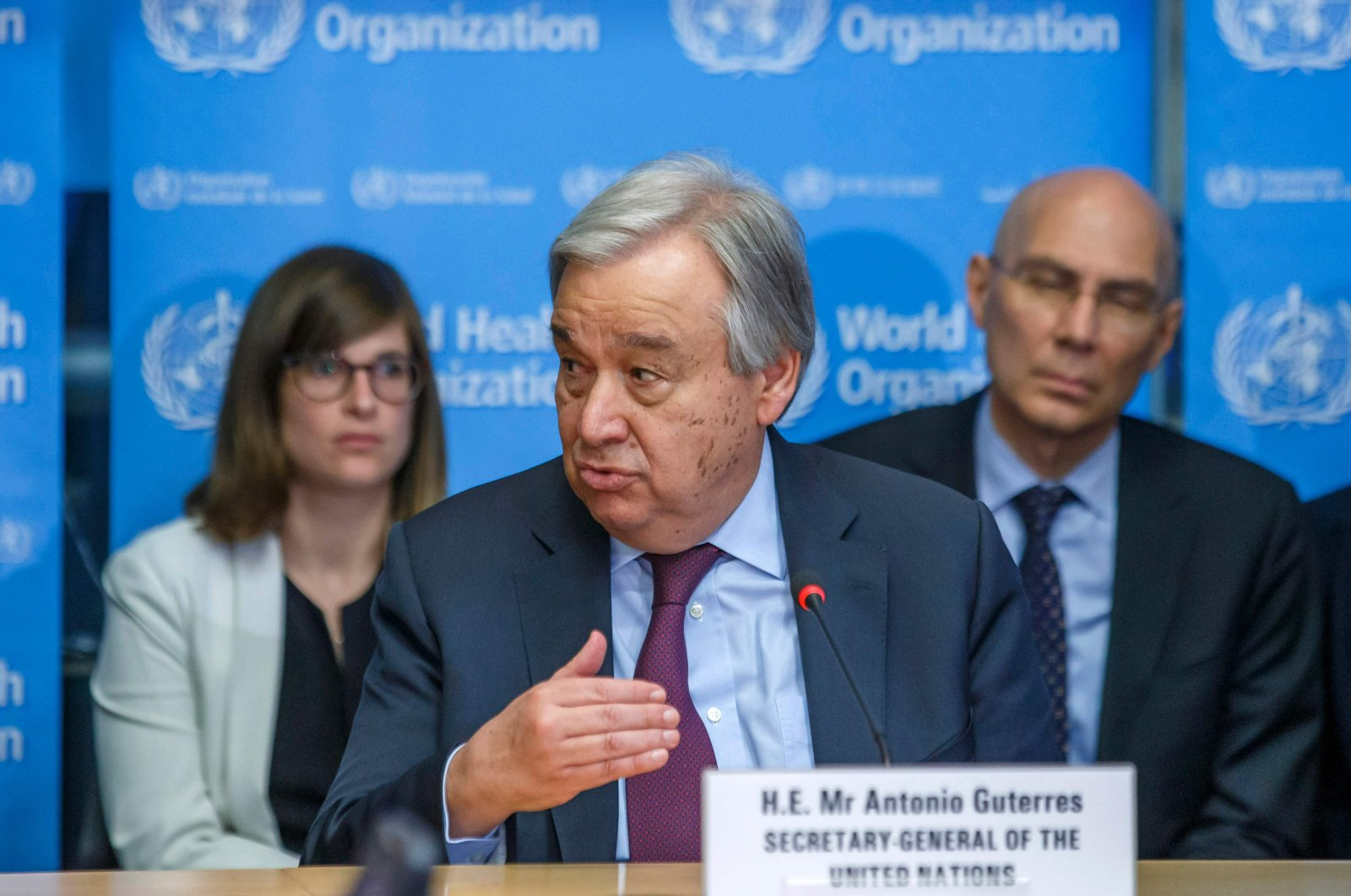 UN Secretary-General Antonio Guterres speaks during an update on the situation regarding the COVID-19 in the SHOC room (Strategic health operations centre) at the World Health Organization (WHO) headquarters in Geneva, Feb. 24, 2020. (AFP)