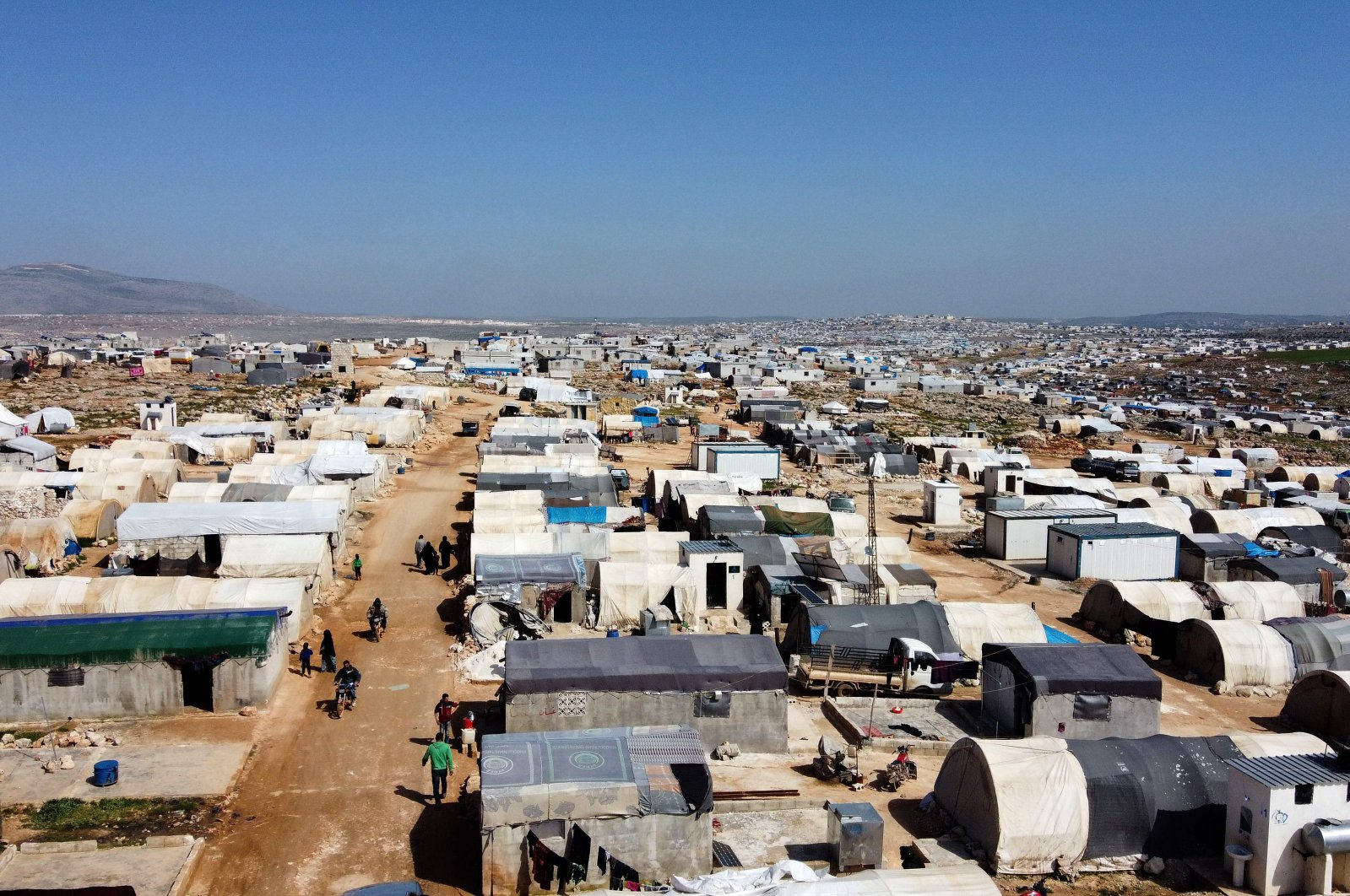 A general view of the Kafr Lusin camp for displaced Syrians near the border with Turkey, in Syria's northwestern province of Idlib, March 23, 2020. (AFP Photo)