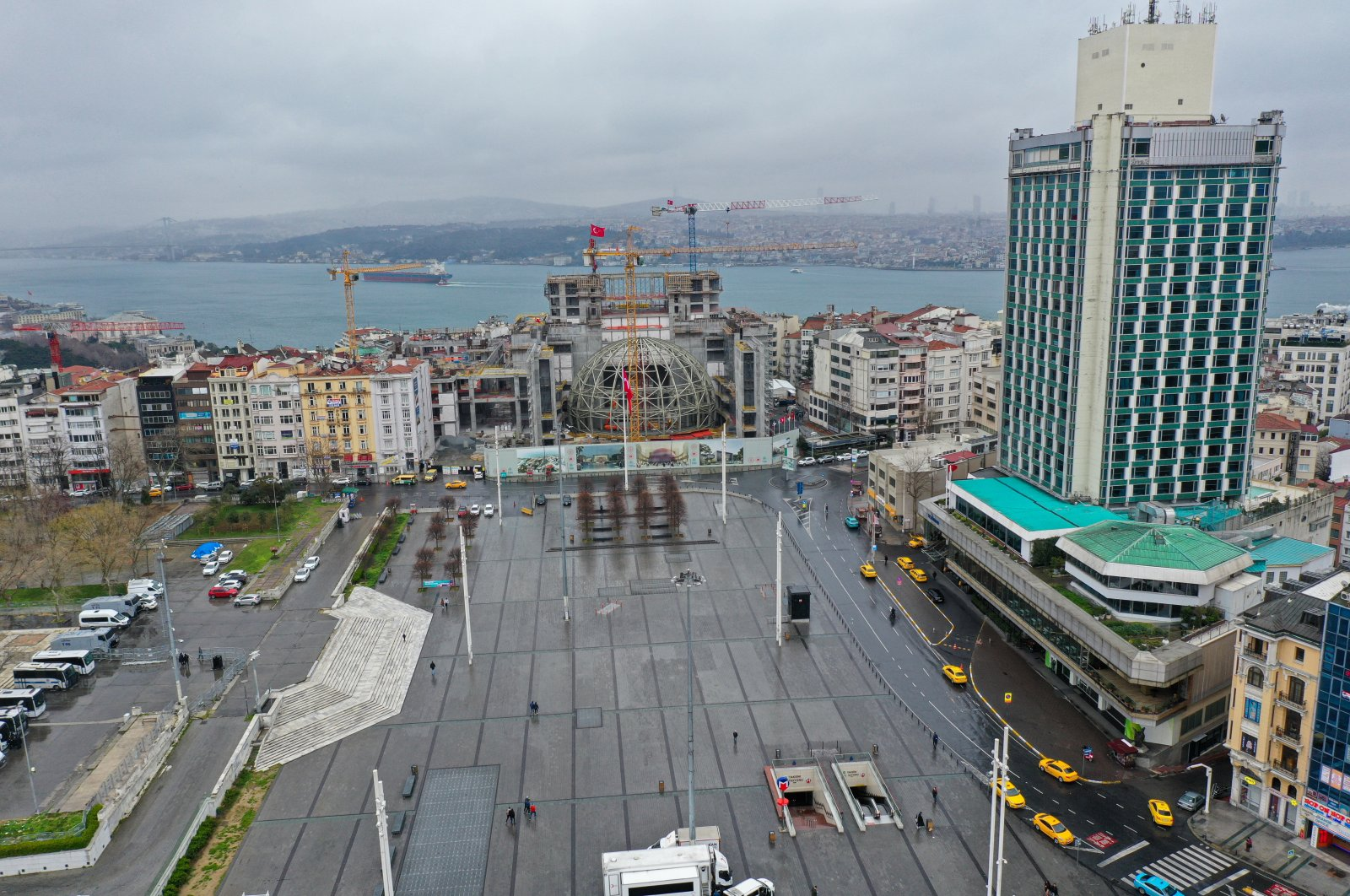 Istanbul's famous Taksim square, which is usually packed with people, has been nearly empty recently (AA Photo)