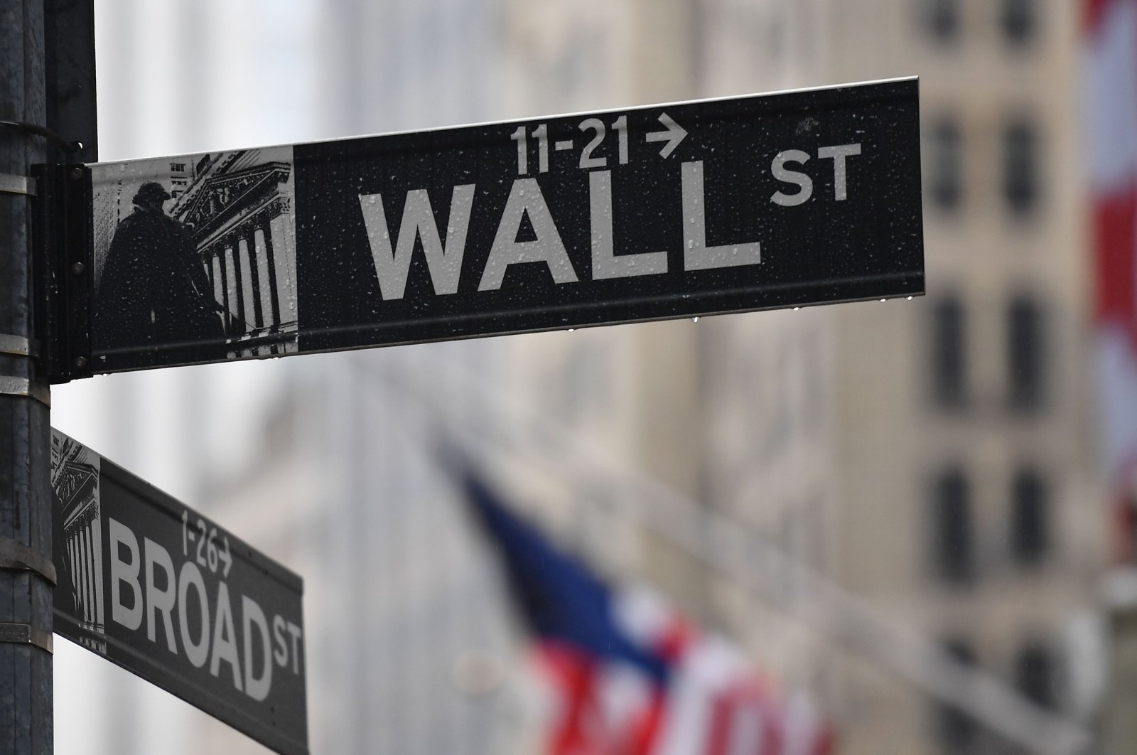 The wall Street street sign is seen on March 23, 2020 in New York City. (AFP Photo)