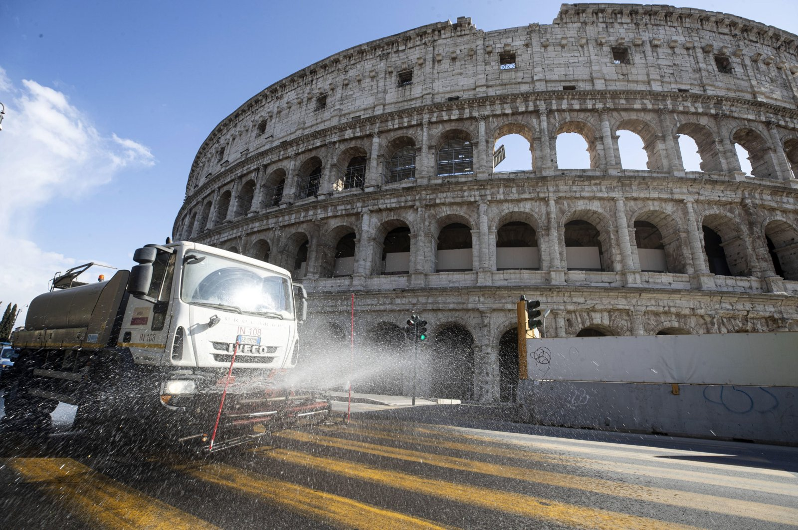 Disinfection operations on the streets due to the Coronavirus emergency in Rome, Italy, 24 March 2020. (EPA Photo)