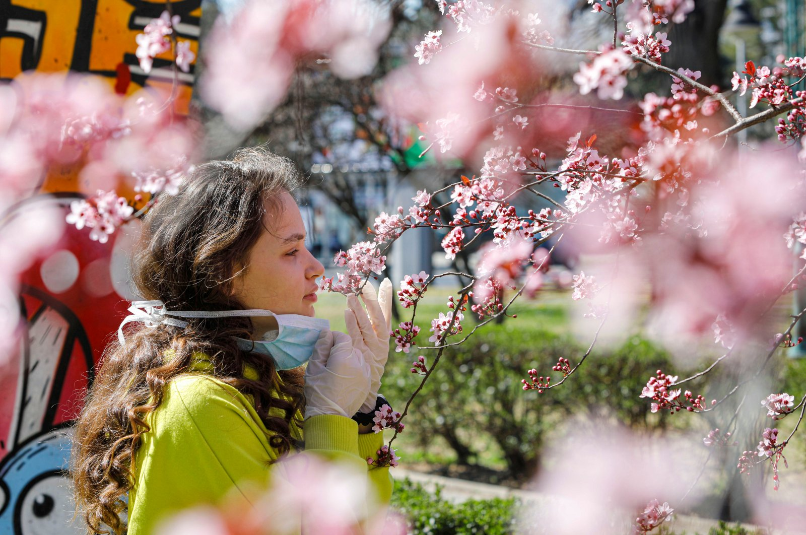 A girl removes her mask to smell the flowers on a blooming tree in Skopje, North Macedonia, Friday, March 20, 2020. (Reuters Photo)