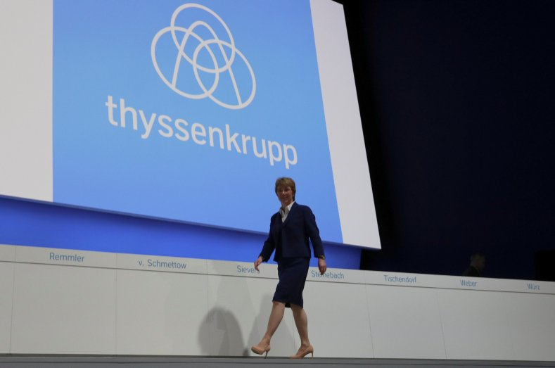 German steelmaker Thyssenkrupp AG CEO Martina Merz walks on the stage during the annual shareholders meeting in Bochum, Germany, Jan. 31, 2020. (REUTERS Photo)