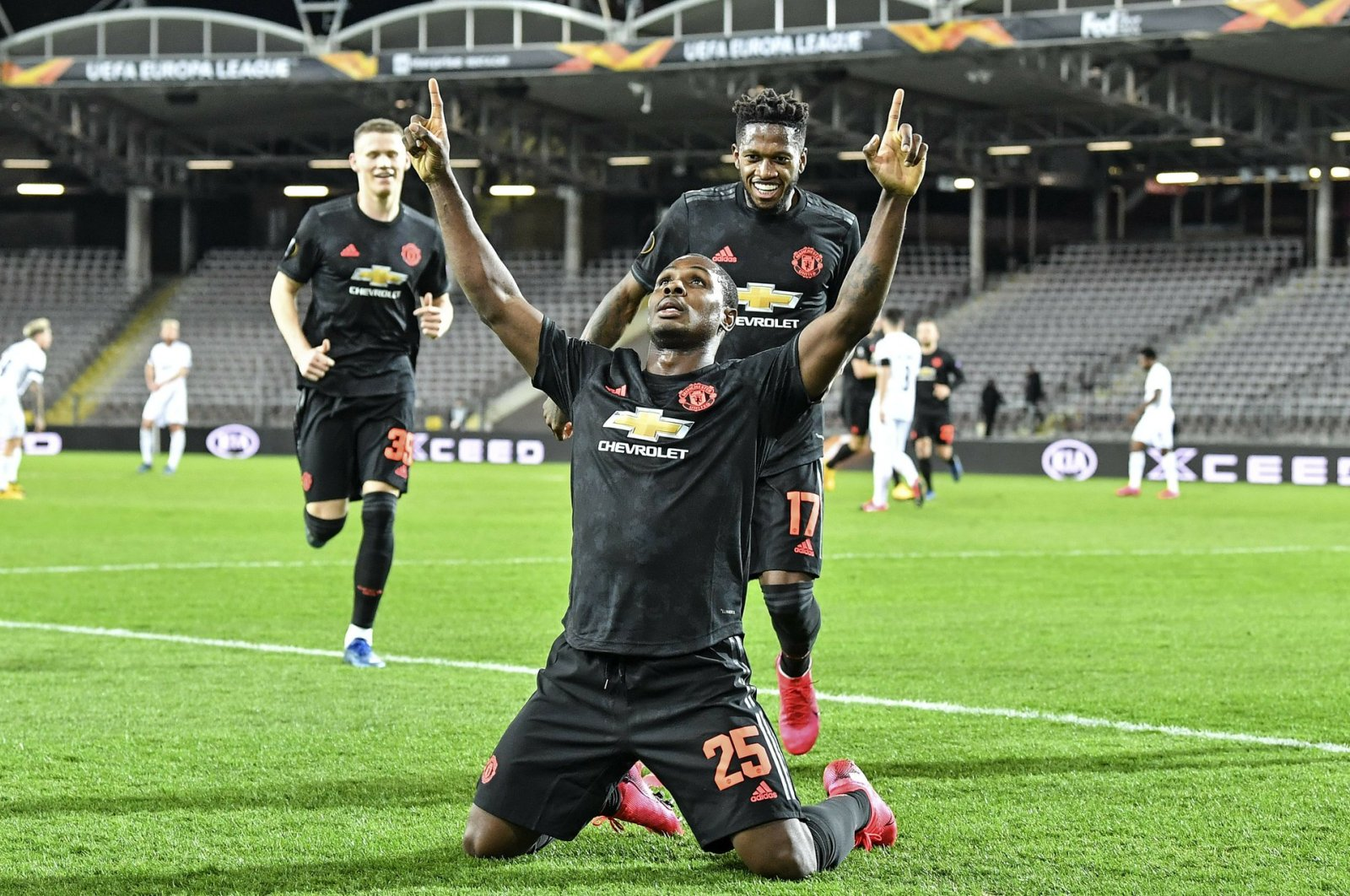 Manchester United's Odion Ighalo celebrates after scoring the opening goal during a Europa League match against Linzer ASK in Linz, Austria, Thursday, March 12, 2020. (AP Photo)