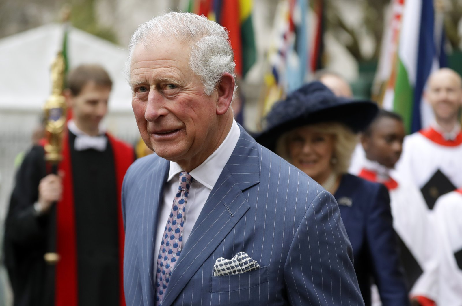 Britain's Prince Charles leaves after attending the annual Commonwealth Day service at Westminster Abbey, London, Monday, March 9, 2020. (AP Photo)