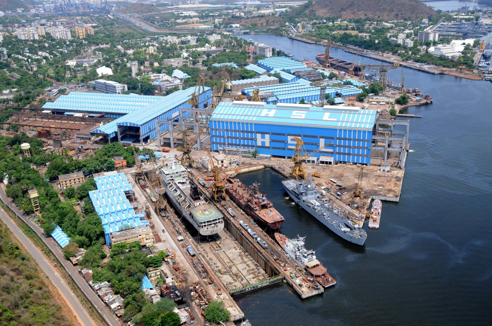 An aerial view of the Hindustan Shipyard Limited. (Wikipedia Image)