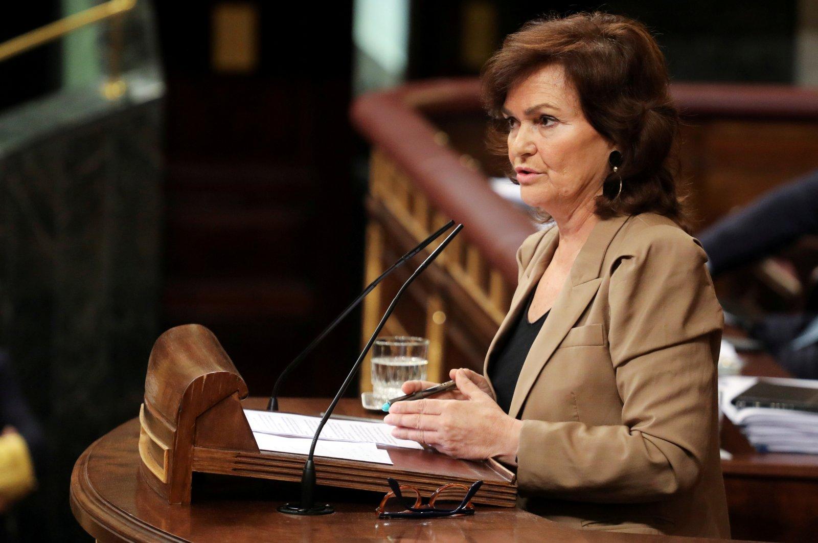 Spain's deputy prime minister Carmen Calvo speaks in parliament in Madrid, Spain, September 13, 2018. (Reuters Photo)