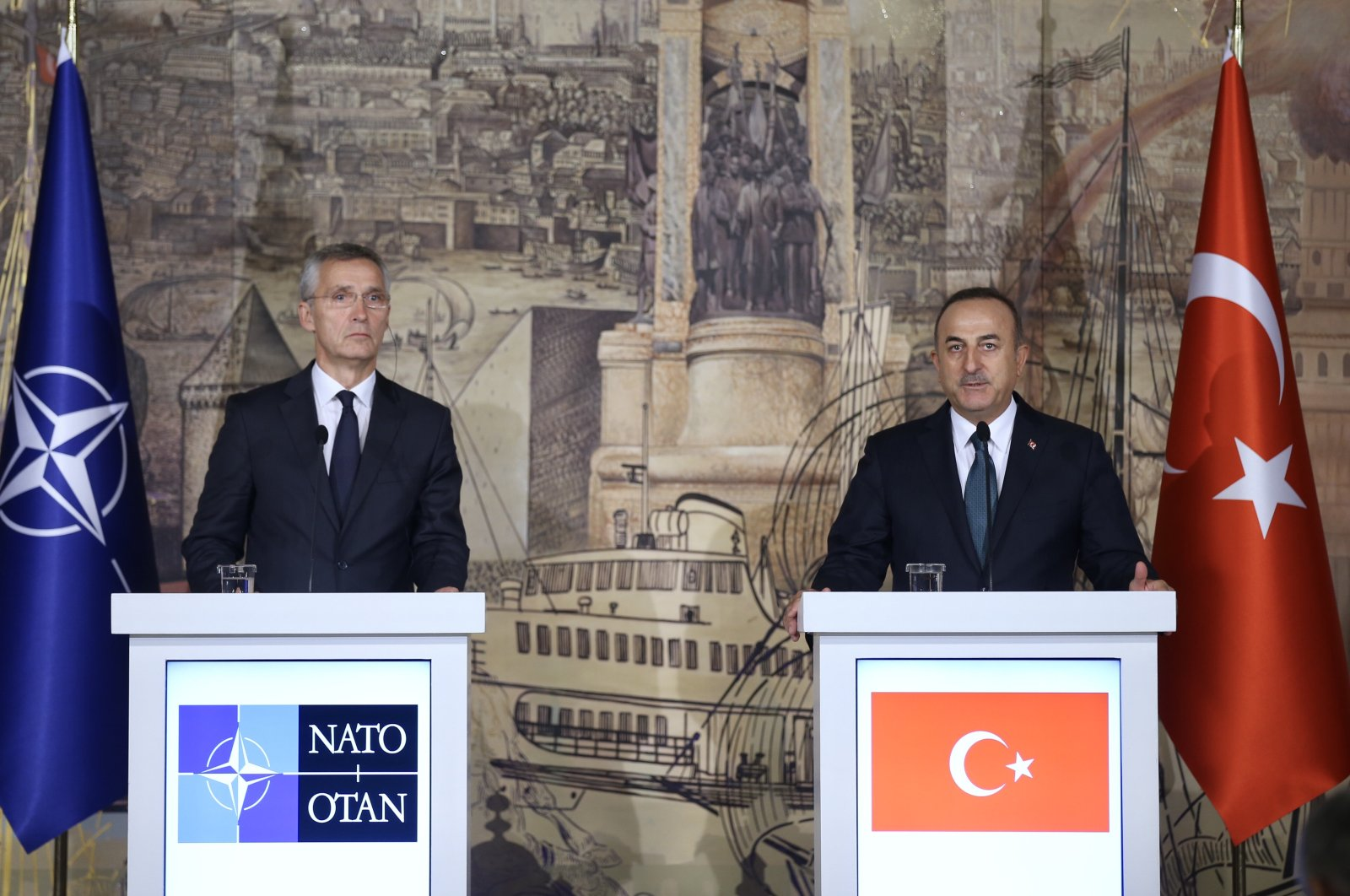 Foreign Minister Mevlüt Çavuşoğlu with NATO chief Jens Stoltenberg at a joint press conference in Istanbul, Oct.14, 2020 (AA Photo)