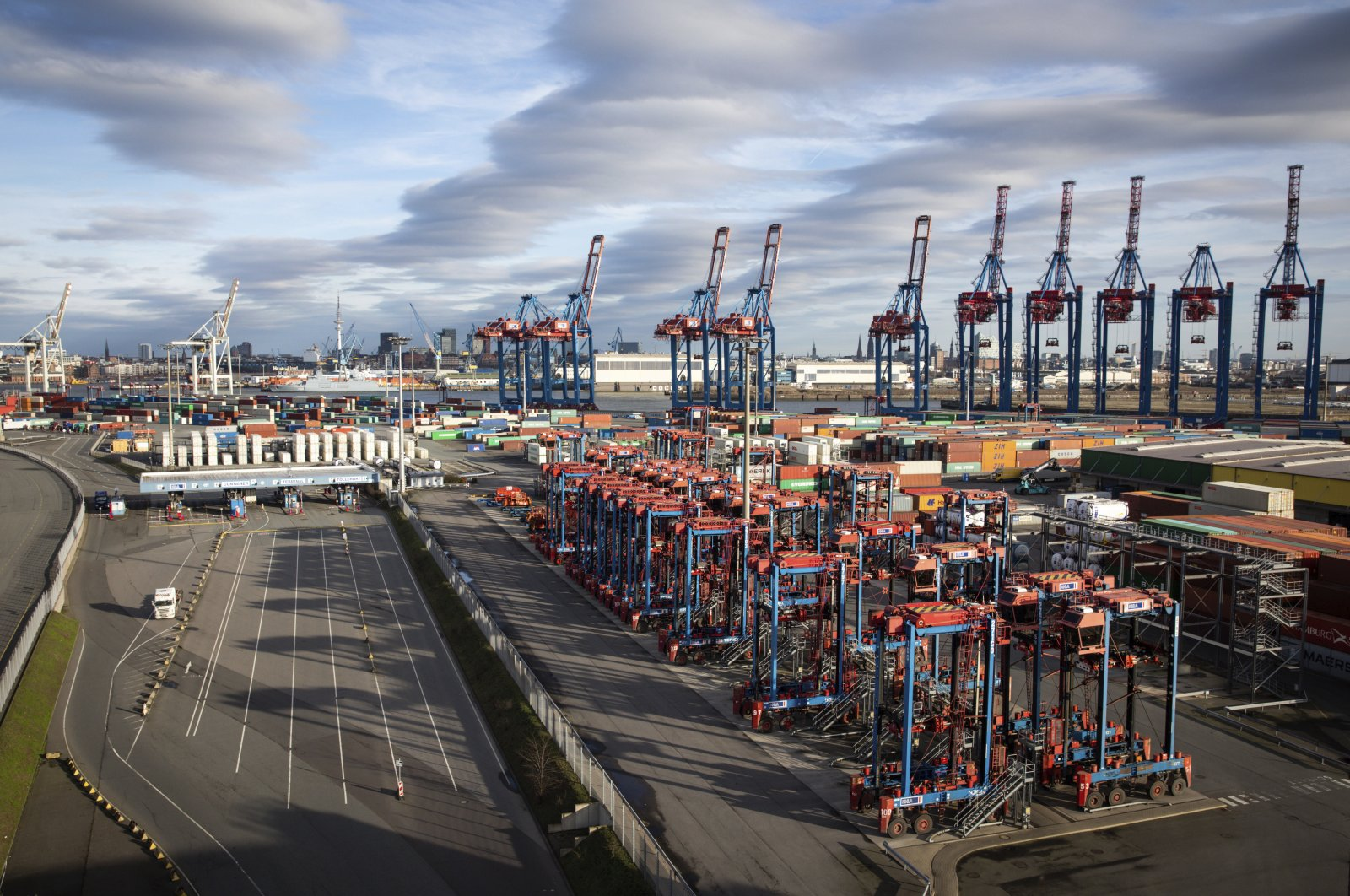 View on the Container Terminal Tollerort of Hamburg Hafen und Logistik AG Ports in Hamburg, Germany, Friday, March 20, 2020. (DPA via AP)
