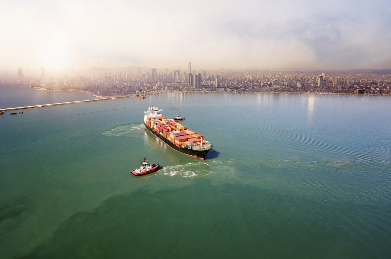 An aerial view of a cargo ship in transit in Istanbul. (iStock Photo)