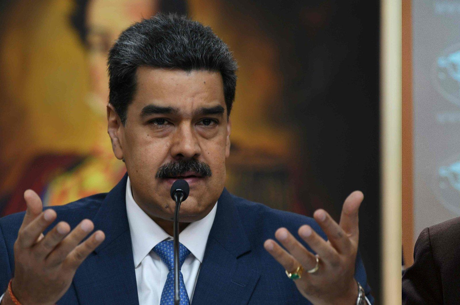 Venezuelan President Nicolas Maduro (L) on Feb. 14, 2020, in Caracas, Venezuela, and U.S. Secretary of State Mike Pompeo on March 17, 2020, in Washington, D.C. (AFP Photo)