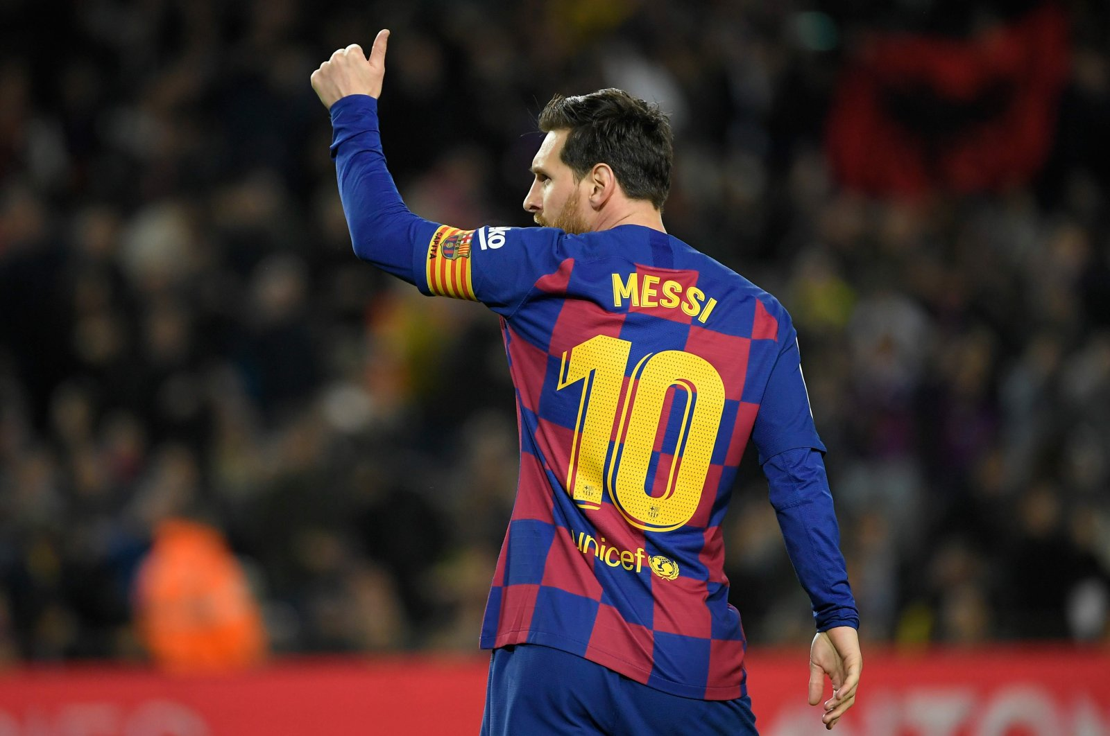 Barcelona's Lionel Messi celebrates after scoring a goal during a La Liga match against Real Sociedad at the Camp Nou stadium in Barcelona, Spain, March 7, 2020. (AFP Photo)