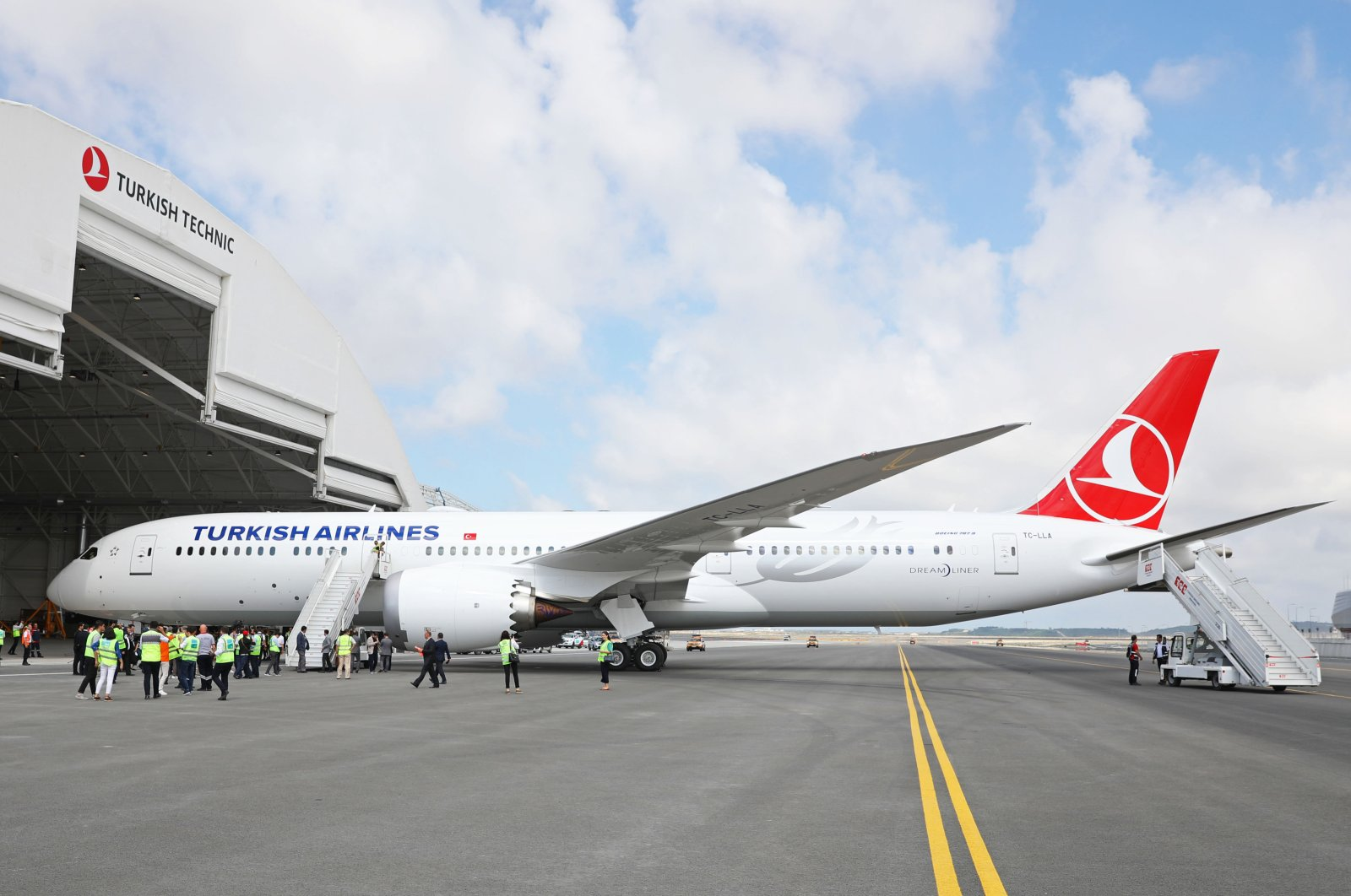 The first Boeing 787-9 Dreamliner long range passenger aircraft added to the fleet of Turkish Airlines stands on the tarmac at the Istanbul Airport prior to its maiden flight, on July 04,2019. (Photo: Sabah / Murat Şengül)