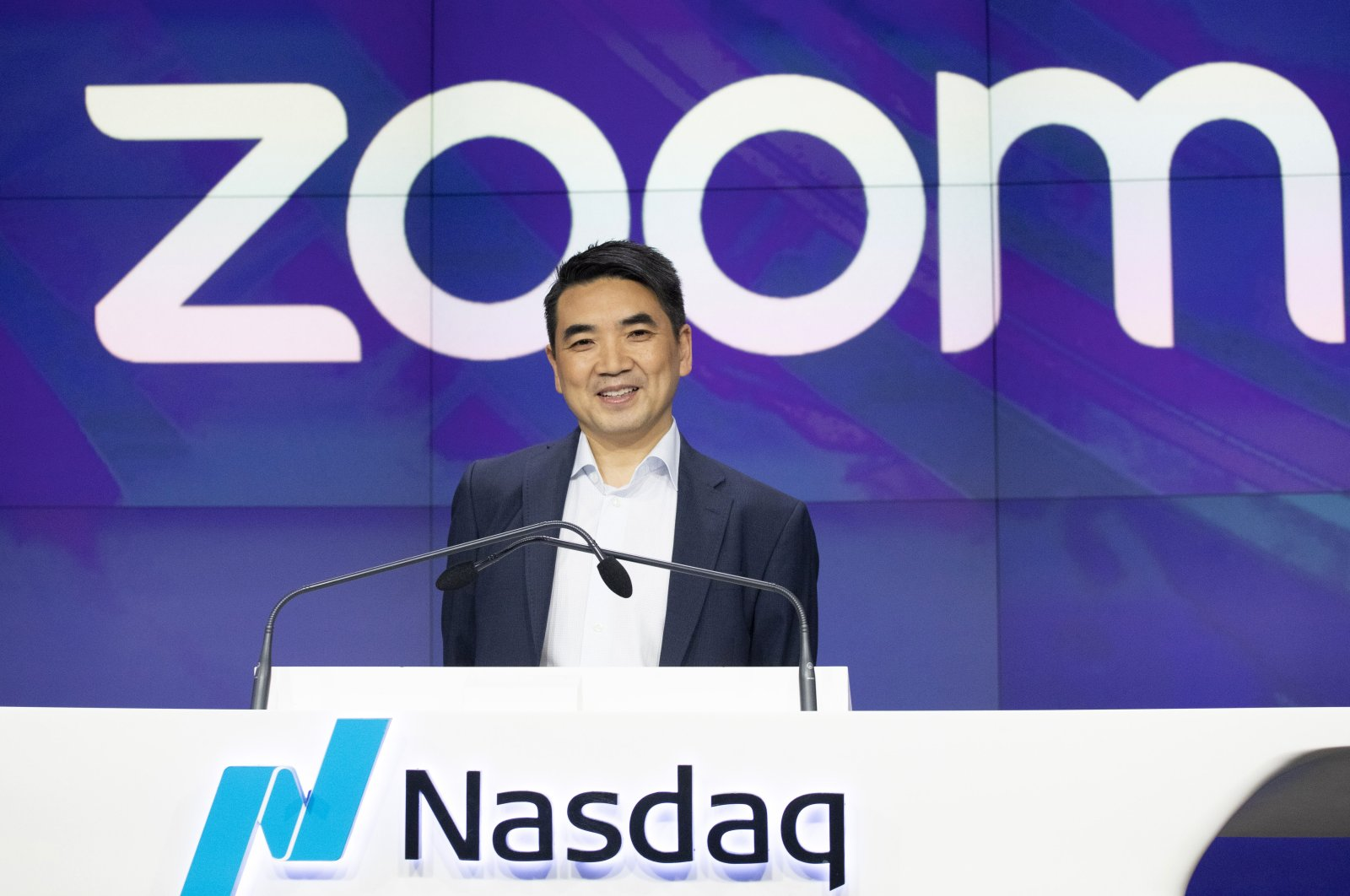 In this April 18, 2019 file photo, Zoom CEO Eric Yuan attends the opening bell at Nasdaq as his company holds its IPO in New York. (AP Photo)