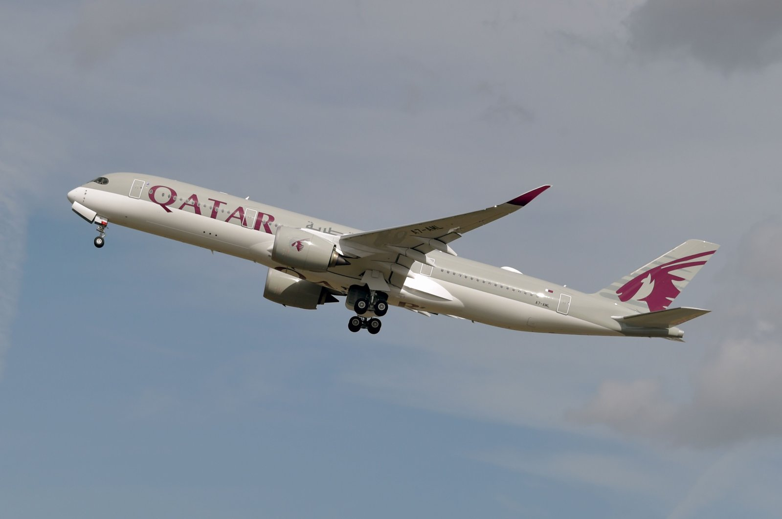 An Airbus A350 of Qatar Airways company after taking off from the Toulouse-Blagnac airport, near Toulouse, France, Sept. 27, 2019. (AFP Photo)