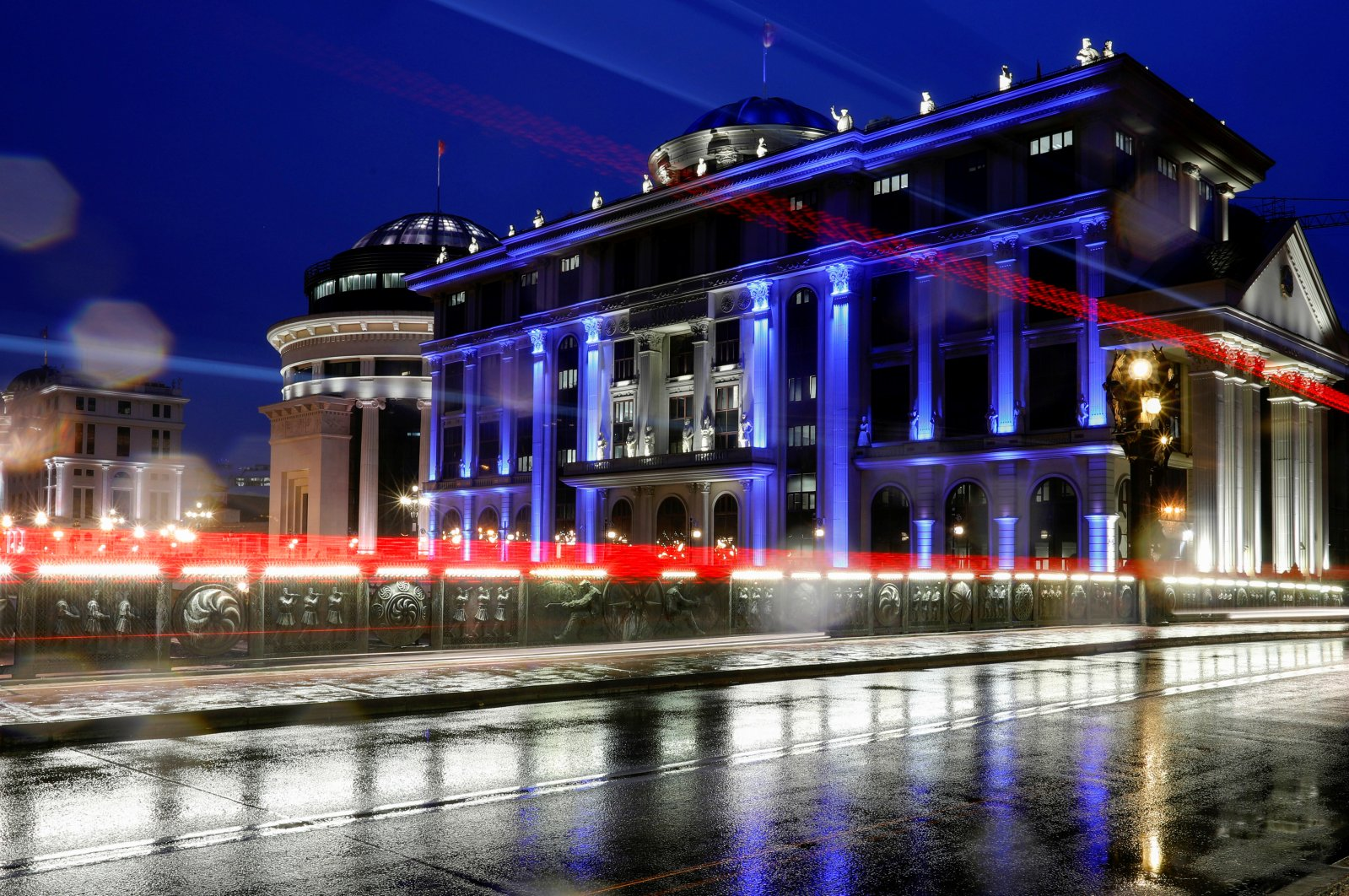 The offices of the Ministry of Foreign Affairs of North Macedonia have changed its lights to blue to mark North Macedonia officially becomes the 30th member of the NATO alliance in Skopje, North Macedonia, Friday, March 27, 2020. (REUTERS)