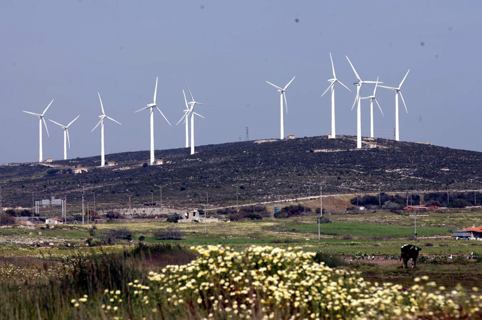 Wind turbines are seen in Karaburun district of Turkey's Aegean province of İzmir, Feb. 13, 2019. (DHA Photo)