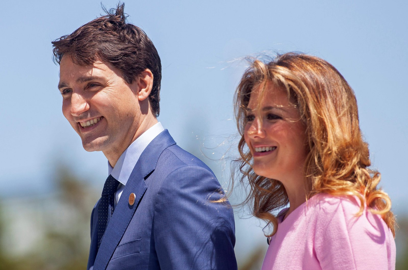 Prime Minister of Canada Justin Trudeau and his wife Sophie Gregoire Trudeau arrive for a welcome ceremony for G-7 leaders on the first day of the summit, La Malbaie, Quebec, June 8, 2018. (AFP Photo)