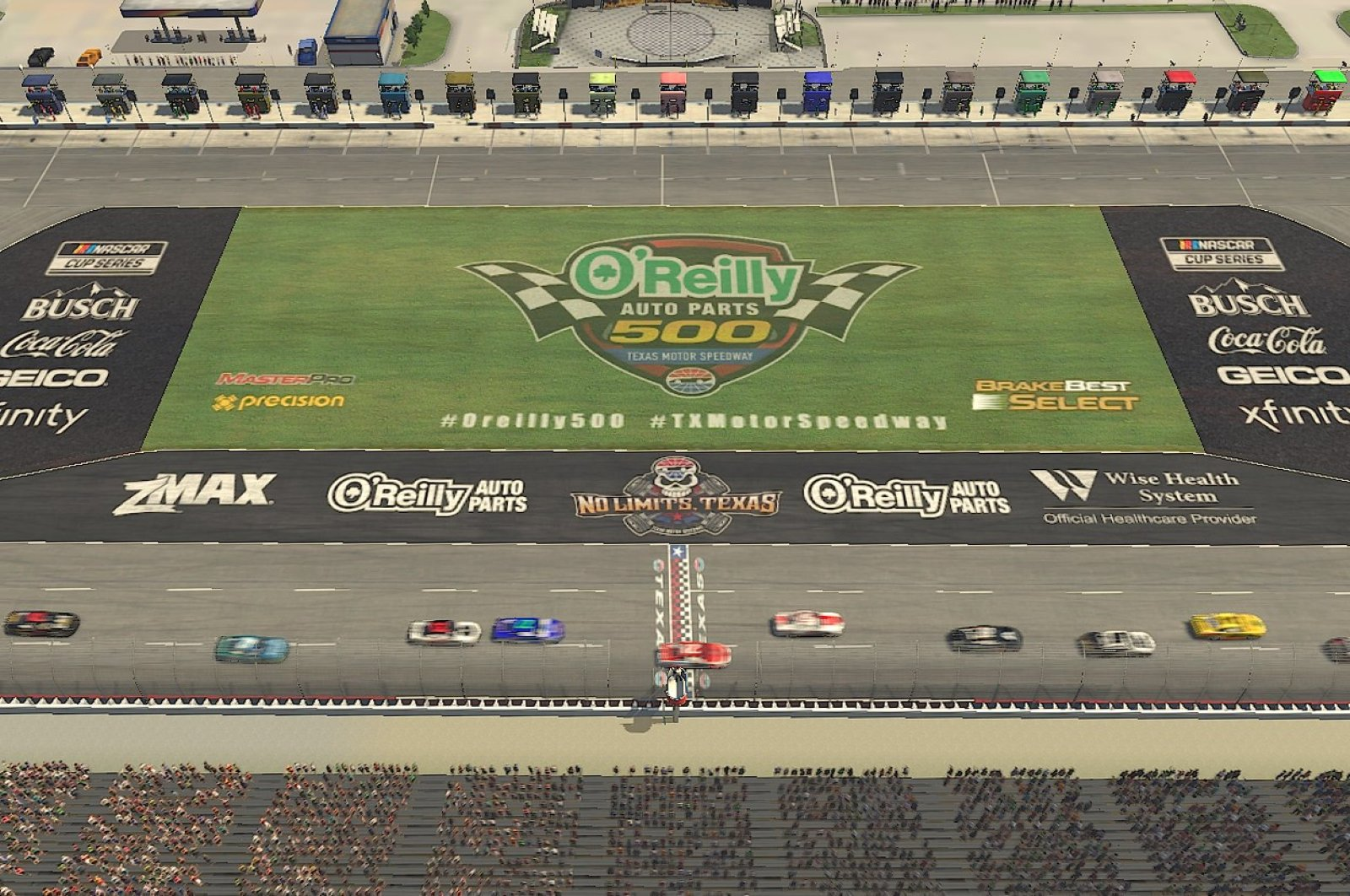 Cars race during the eNASCAR iRacing Pro Invitational Series Race O'Reilly Auto Parts 125 at virtual Texas Motor Speedway in Fort Worth, Texas, March 29, 2020. (AFP Photo)