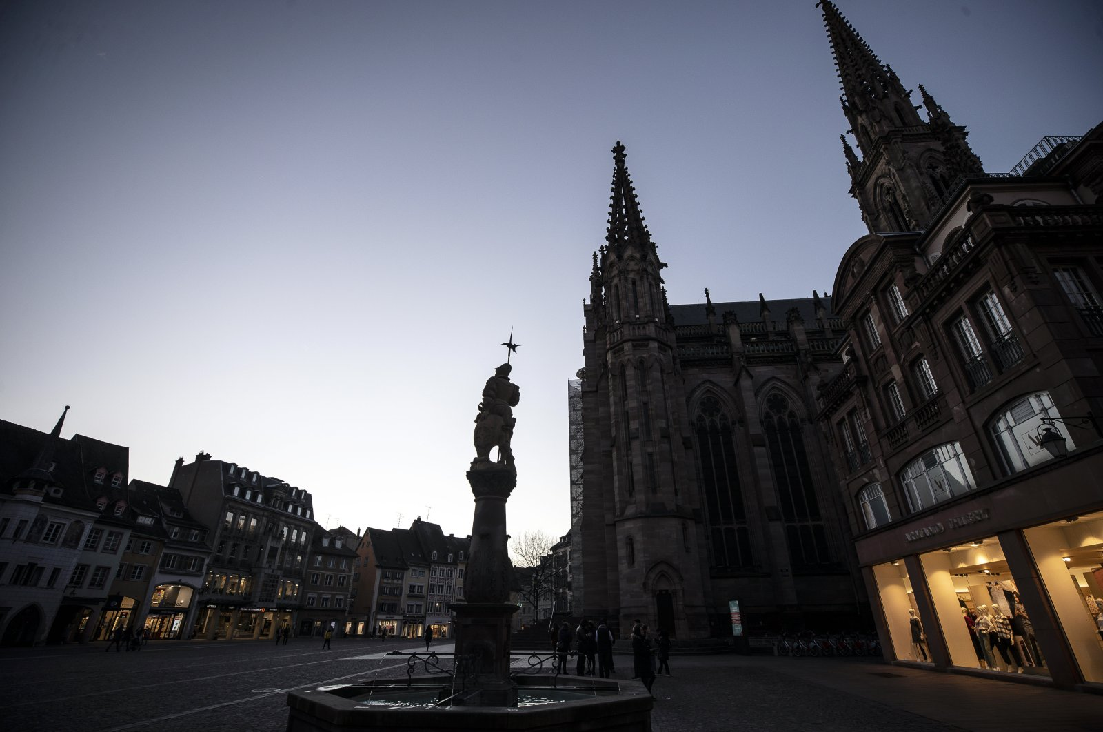 The center of Mulhouse, the epicenter of the outbreak in France, March 9, 2020. (AP Photo)