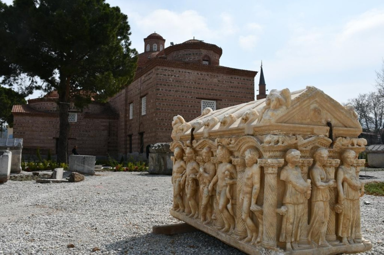 Artifacts like this sarcophagus are on display in the garden of the museum. (İHA Photo)
