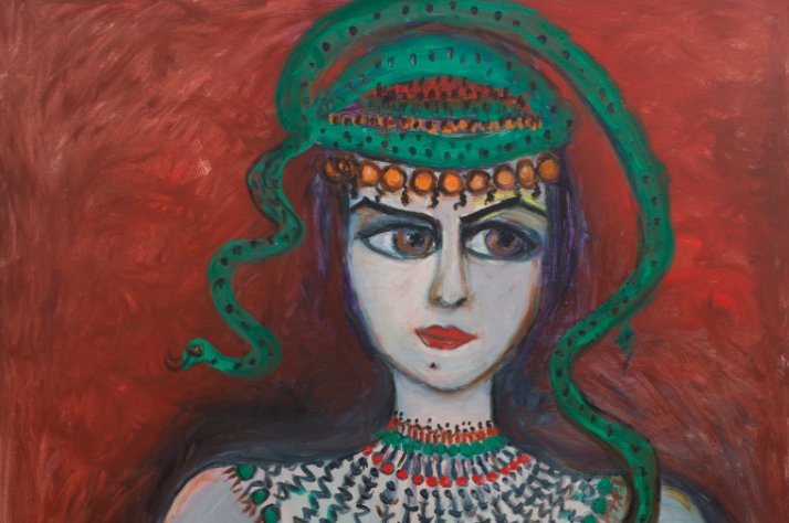 "Fahrelnissa Zeid, ""Woman with a Snake"" (1985), oil on canvas, 130 x 120cm, Sara Baruh Collection."