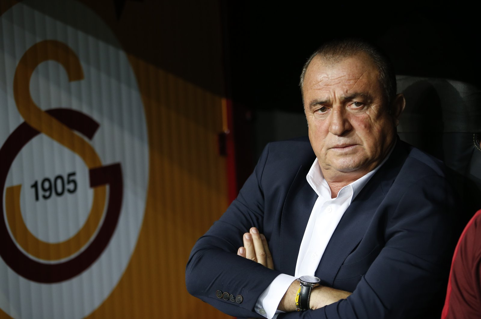 Fatih Terim, sits on the bench prior to a Champions League Group A soccer match in Istanbul, Turkey, Oct. 1, 2019. (AP Photo)