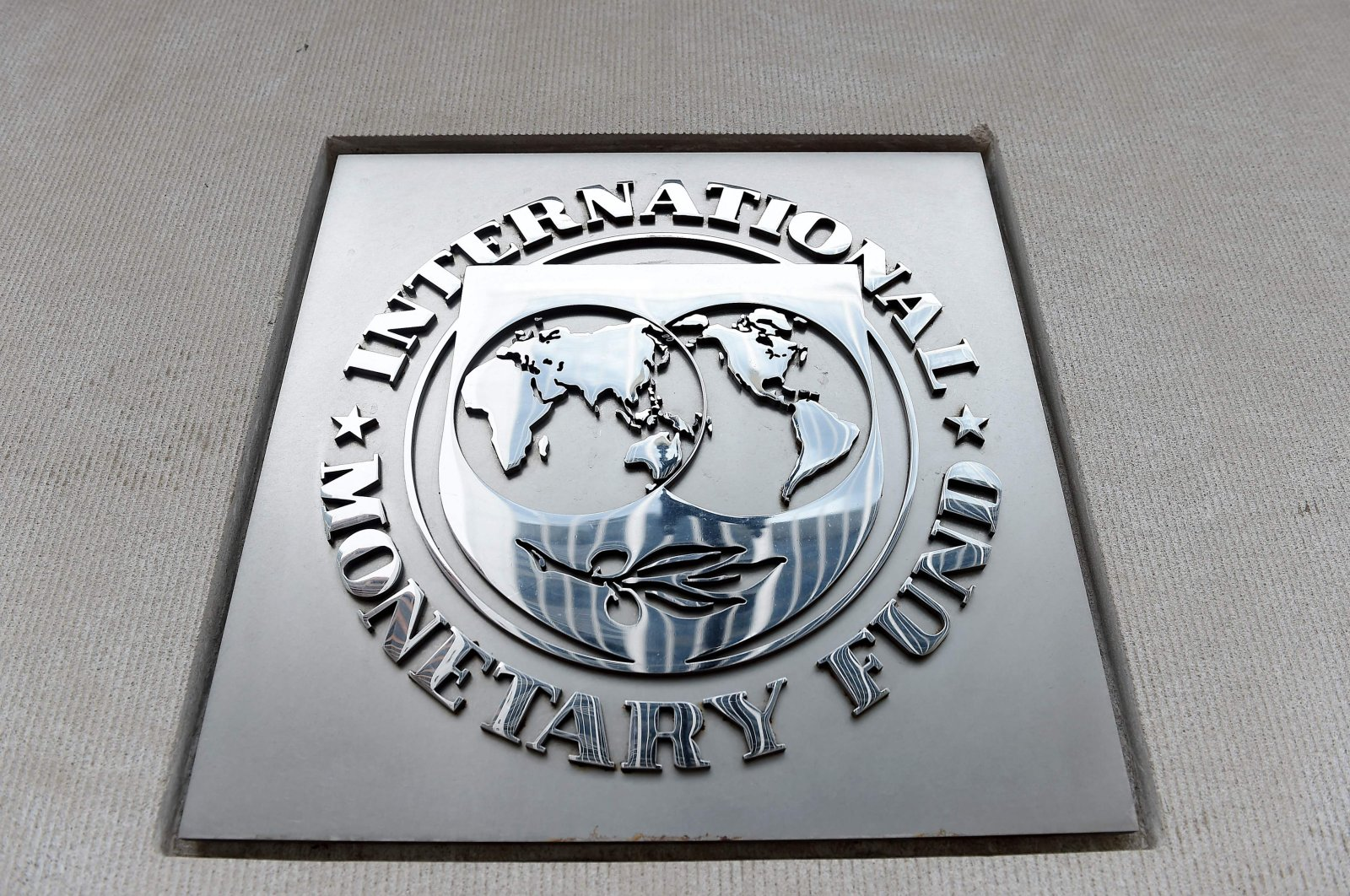 An exterior view of the building of the International Monetary Fund is seen in Washington, DC., Friday, March 27, 2020. (AFP Photo)