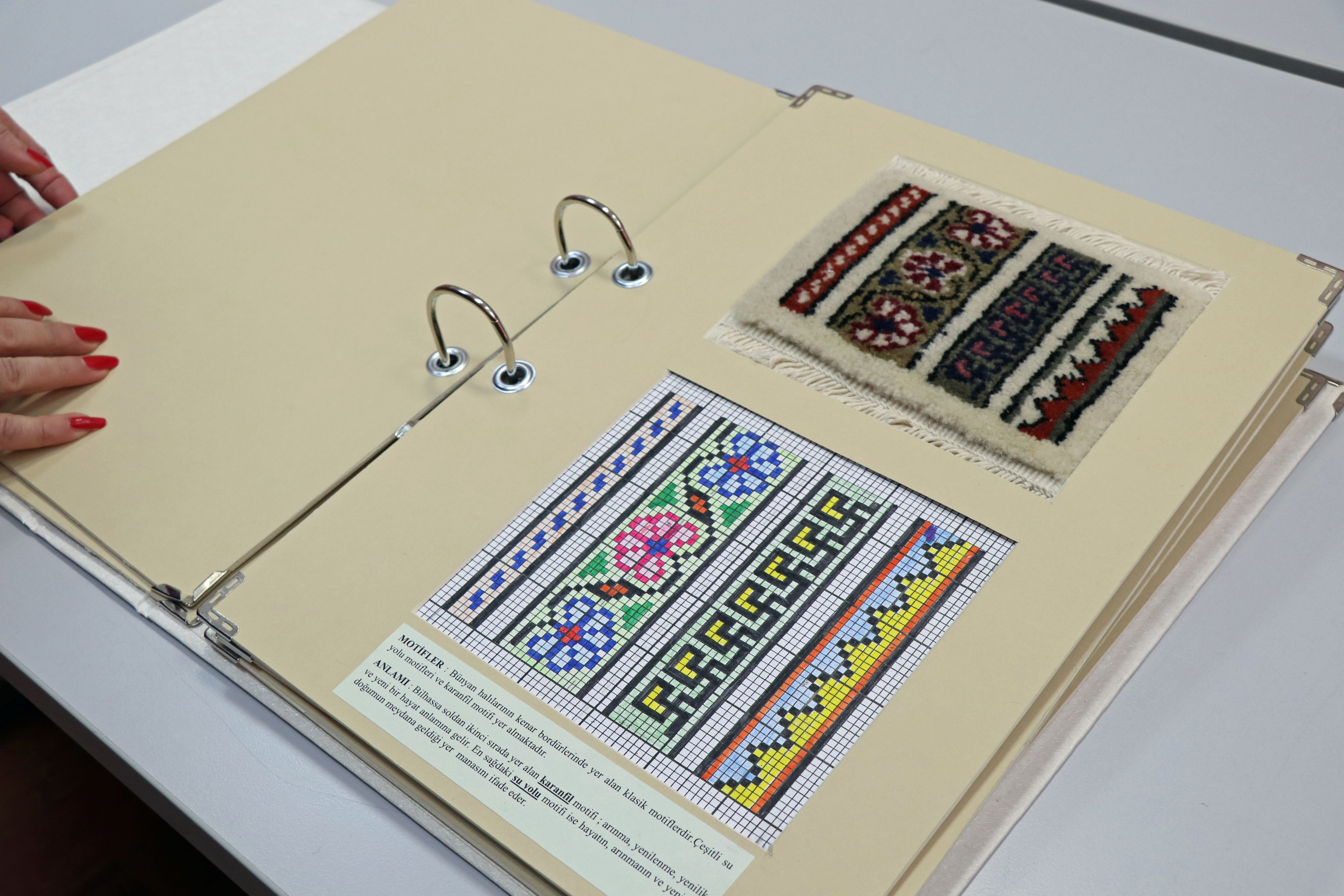 A swatch card showing a motif and how it is embroidered. (AA Photo)