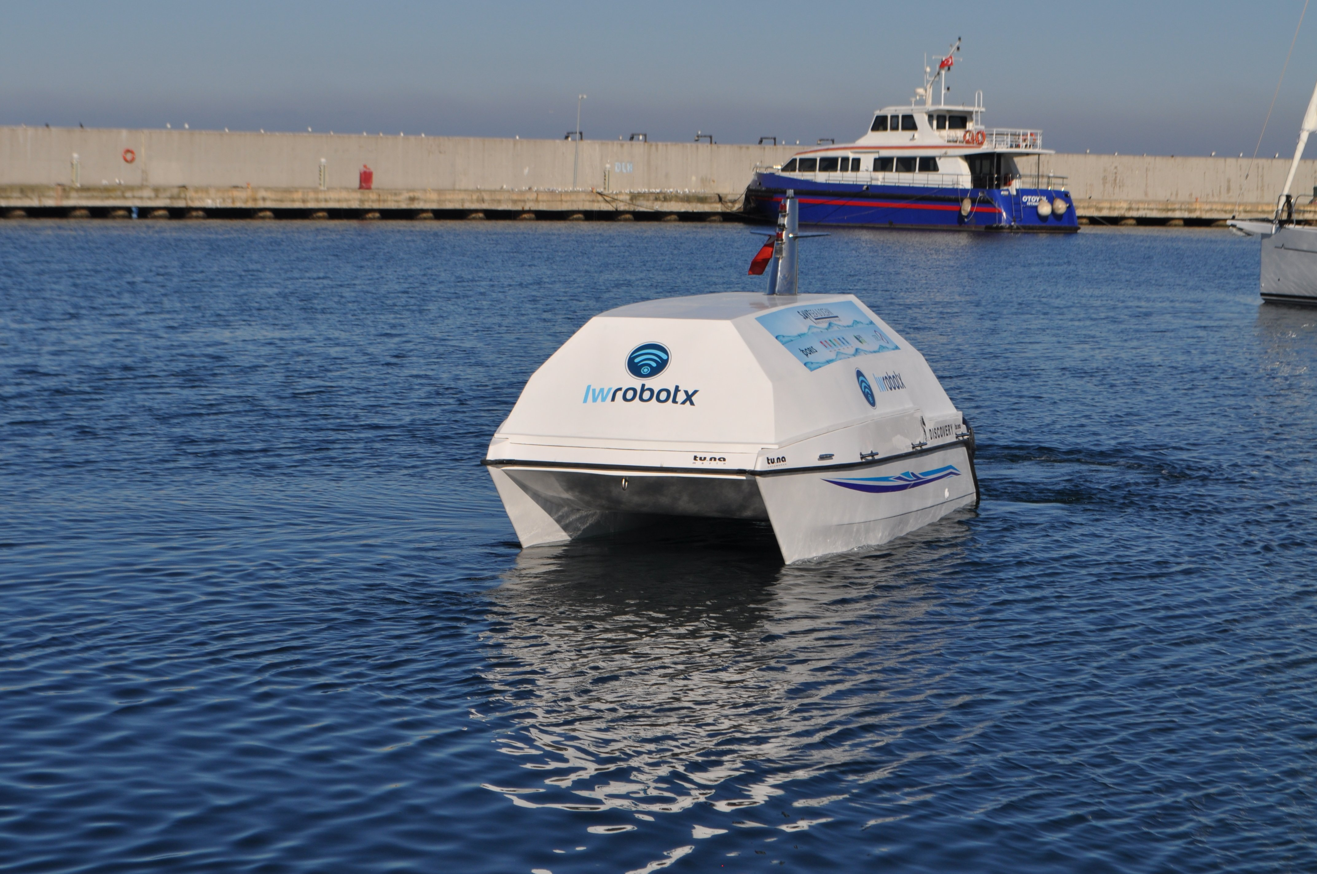 Photo shows IWROBOT X's fully autonomous sea-cleanup device ODTA.
