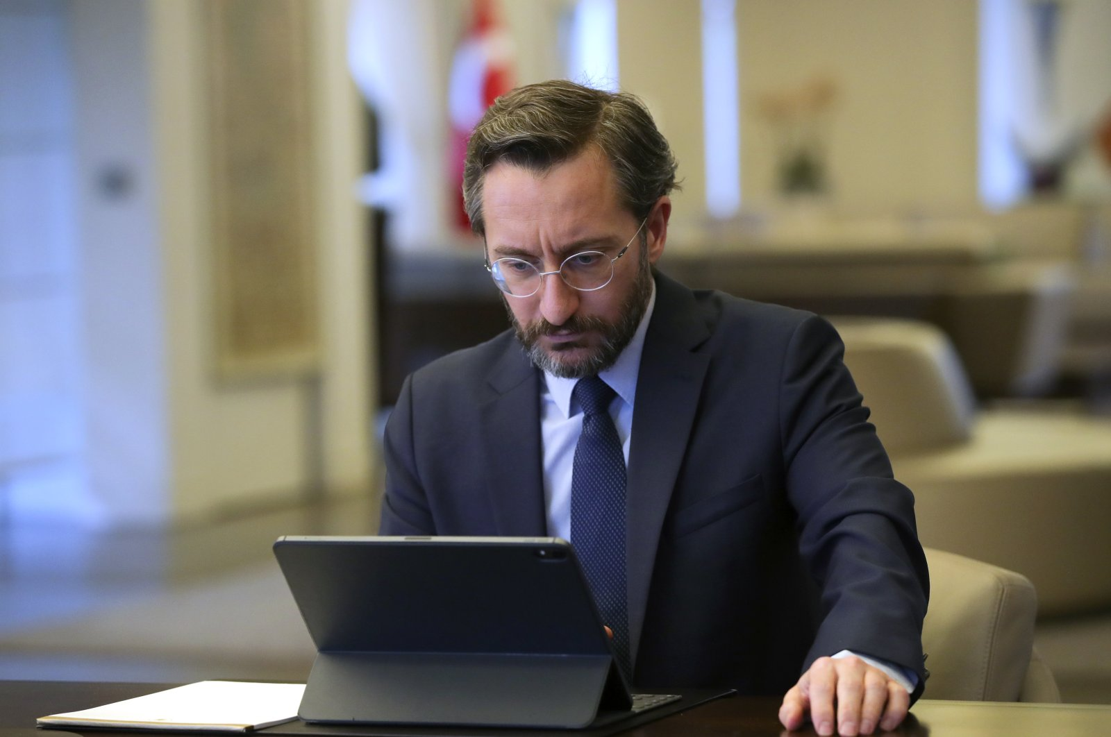 Communications Director Fahrettin Altun holding a video conference on the fight against the coronavirus, March 30, 2020 (AA Photo)