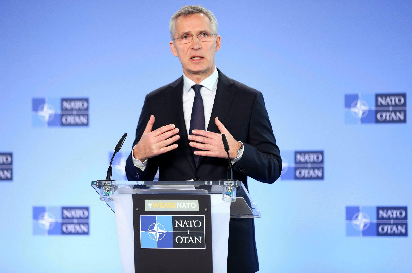 NATO Secretary-General Jens Stoltenberg during a news conference at NATO's headquarters in Brussels, Belgium, March 4, 2020. (AA Photo)