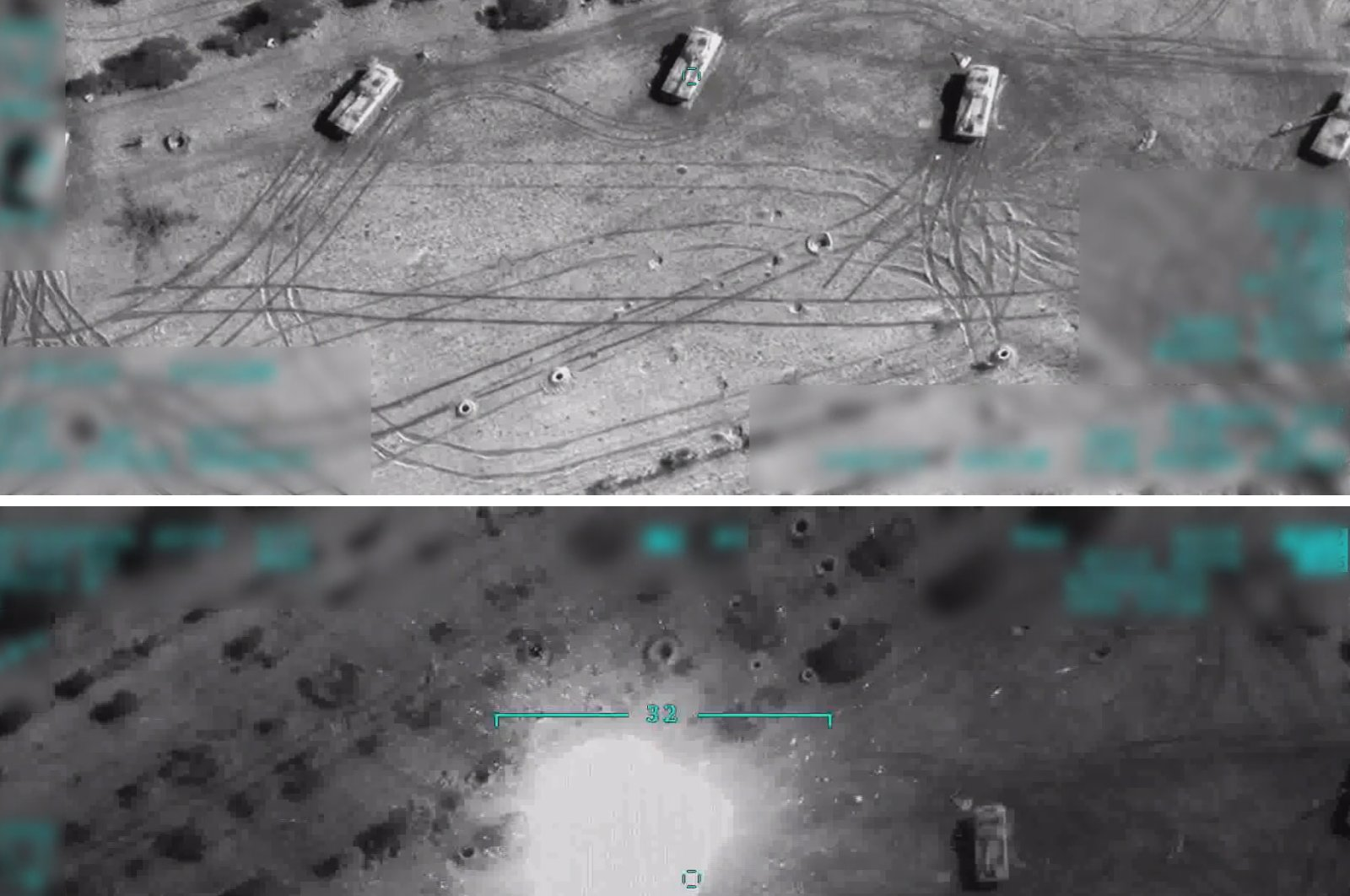 Screengrabs of a video released by the Defense Ministry shows the moment of a Turkish drone strike on Syrian regime positions, Feb. 28, 2020. (AA Photo)