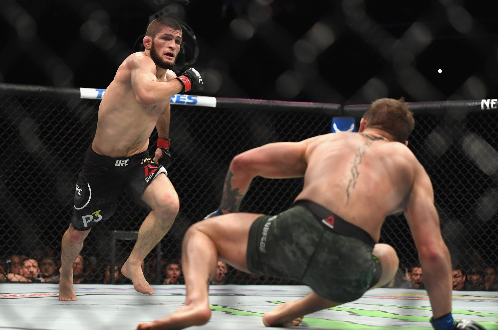 Khabib Nurmagomedov (L) fights Conor McGregor during a lightweight title mixed martial arts bout at UFC 229 in Las Vegas, Oct. 6, 2018. (AFP Photo)