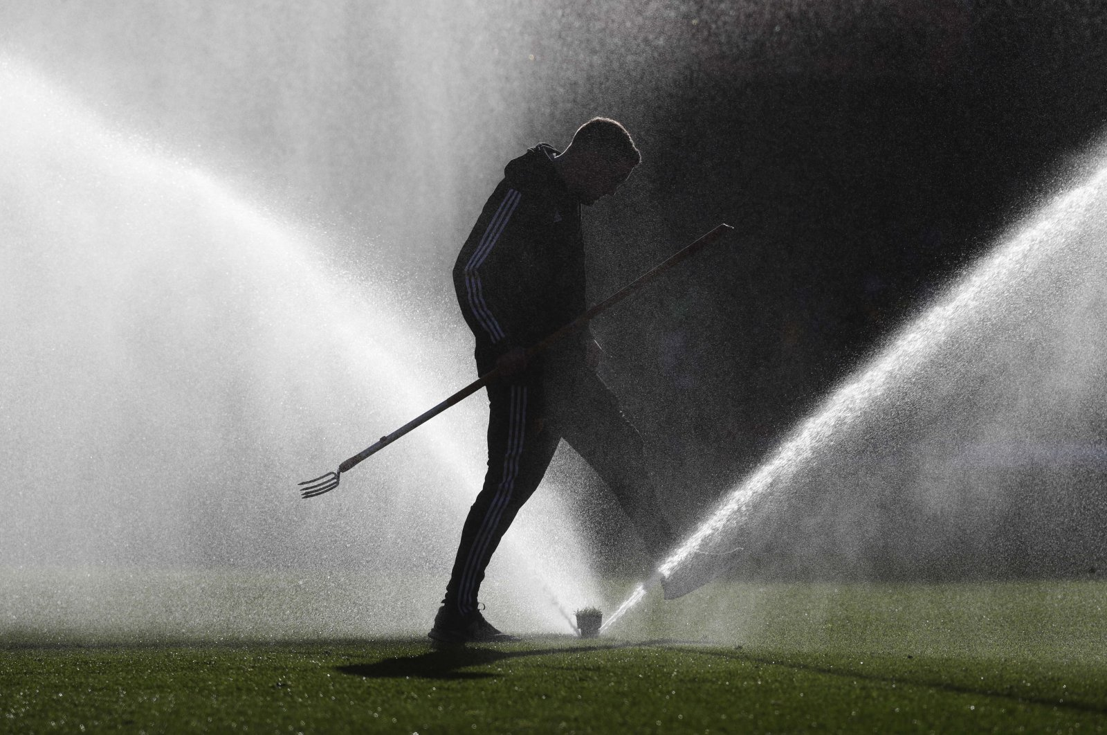A field worker walks through a spray of water on the pitch prior to the start of the Premier League football match between Watford and Tottenham Hotspur at Vicarage Road, Watford, England, Jan. 18, 2020. (AP Photo)