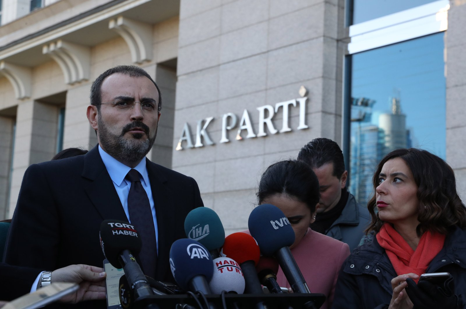 Justice and Development Party (AK Party) Deputy Chairman Mahir Ünal speaks to reporters in front of the AK Party headquarters following a meeting, in this undated file photo, Ankara, Turkey. (Sabah Photo)